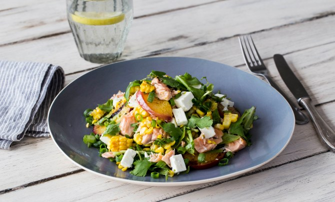 blistered corn and salmon salad