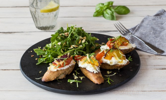 Peach & Tomato Tartines with Almond and Arugula Salad