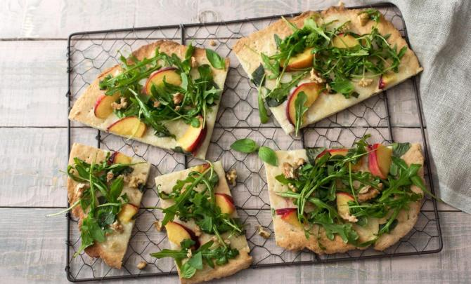 Peach and Mozzarella Flatbread