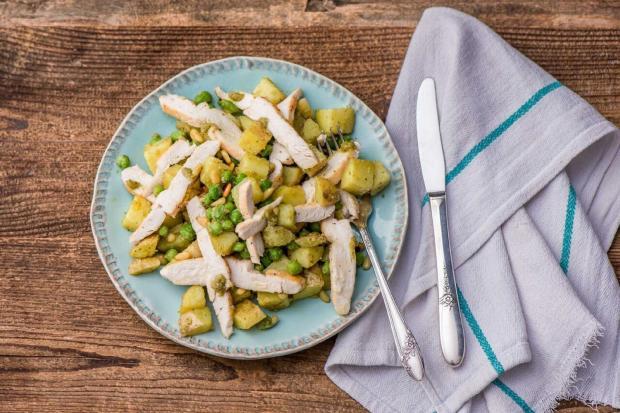 Lemony Pan-Seared Chicken with Pesto Potato Salad and Peas