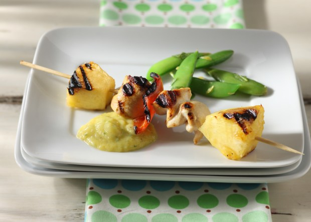 Tropical Chicken Skewers with Mango Yogurt Dipping Sauce