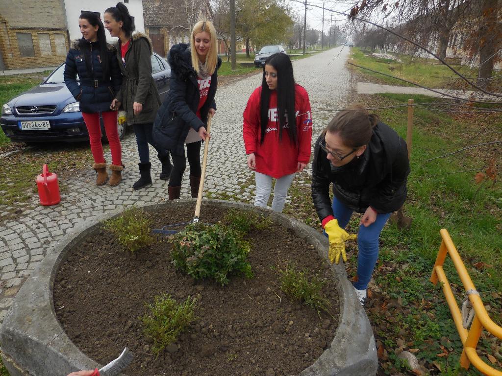 Aкција социјалистичке омладине у Пригревици - фарбање бетонских жардињера.