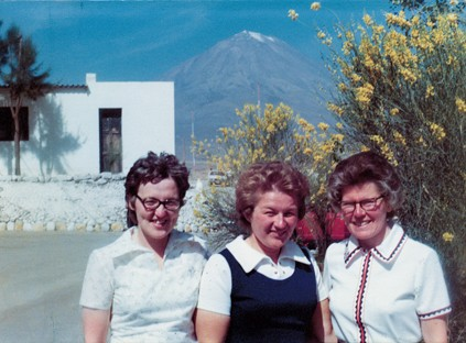 Left to right, Sisters Patty Fillenwarth, Betty Smigla and Florence Norton pose for a photo on their last day in Arequipa on Jan. 26, 1976.