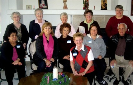 Providence Associate Director Sister Diane Mason (foreground) poses for a photo with the 2011-2012 California candidate-associates and their companions. Pictured front row, left to right: Emma Contreras of Indio, Patricia Elmore Costa of San Diego, April Bradley of Cathedral City, Martha Langarica of Thermal and David Rudolph of Idyllwild. Pictured in the back immediately behind their candidates are Sisters Loretta Picucci, Jeanette Lucinio, Carol Nolan, Marilú Covani and Cathy White.