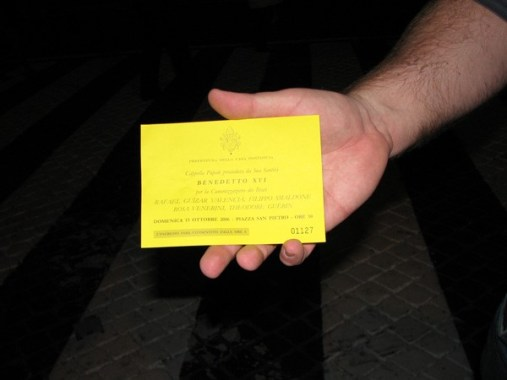 Pilgrims were issued tickets to attend the canonization.