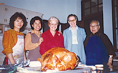 Celebrating Thanksgiving in Taiwan in 1986 are (left to right) Wang Li-Ling (student helper), Sisters Norene Wu, Edith Pfau (RIP), Regina Mary Wallace and Mrs. Elizabeth Kuo (RIP).