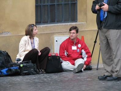 The Terre Haute media (Susan Dinkel from WTHI on the left and Jon Swaner from WTWO on the right) joined the pilgrimage.