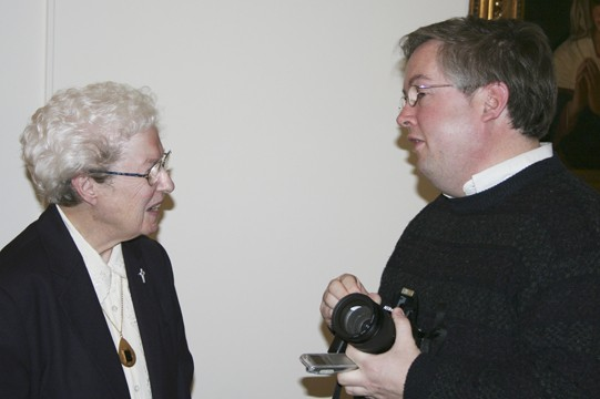 Sister Marie Kevin Tighe speaks to a reporter about Mother Theodore.