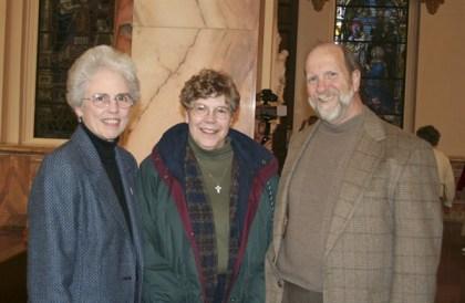 Sister Ann Margaret O'Hara and Sister Rose Ann Eaton with Phil McCord, who was the recipient of the second miracle. The acceptance of this miracle paves the way for the canonization of Mother Theodore Guerin.