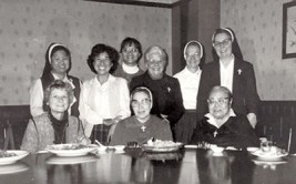Posing for a photo in 1987 are sisters serving in Taiwan (seated, left to right): Sisters Catherine Hartman (RIP), Eleanor Buckley (RIP) and Agnes Joan Li (RIP); (standing): Sisters Celeste Tsai, Norene Wu, Rosa Pan, Edith Pfau (RIP), Dorothy Souligny (RIP) and Regina Mary Wallace.