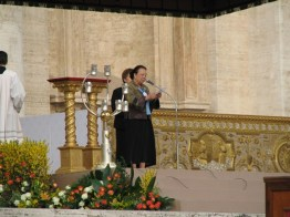 Sister Donna Marie Fu reads Mother Theodore's words in Chinese.