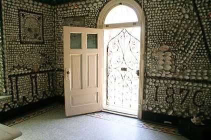 During the day, the open front door lets natural light flood the Shell Chapel.