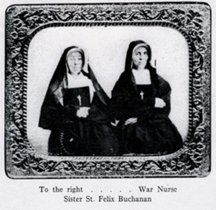 Sister St. Felix Buchanan, a Civil War sister-nurse, is pictured at the right in this photograph. Sister St. Felix was a relative of President James Buchanan. Sister Felix was born July 13, 1830, and entered the Congregation in 1852. She died Nov. 9, 1879.