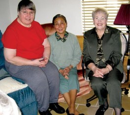 Sisters Cathy White, Doreen Lai and Jeanette Lucinio (left to right) met with West Coast Providence Associates in January.