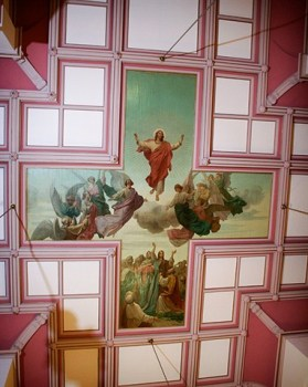 This painting is on the ceiling! Unlike Michelangelo, though, Thaddeus von Zukotynski painted this on canvas pieces which were then installed on the ceiling.