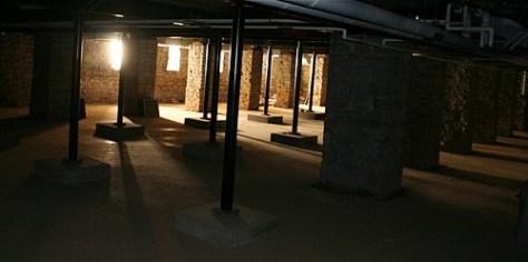 The Crypt is below the Church of the Immaculate Conception. The sturdy metal beams help to hold up the building.