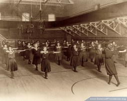 Saint Mary-of-the-Woods College students participate in a gym class.