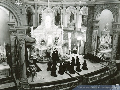 Sisters of Providence take final vows in the Church of the Immaculate Conception on the motherhouse grounds of the Sisters of Providence of Saint Mary-of-the-Woods, Indiana, in 1950.