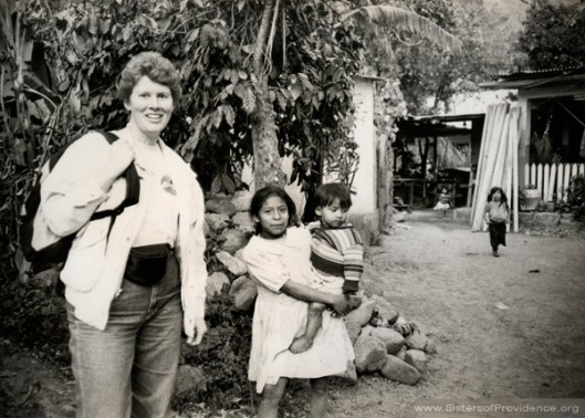 Sister Mary Montgomery, a member of the Sisters of Providence of Saint Mary-of-the-Woods, in Nicaragua in 1991.