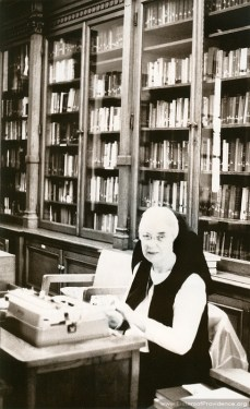 Sister Marie Raphael in the Providence Hall Library on the motherhouse grounds of the Sisters of Providence of Saint Mary-of-the-Woods, Indiana.