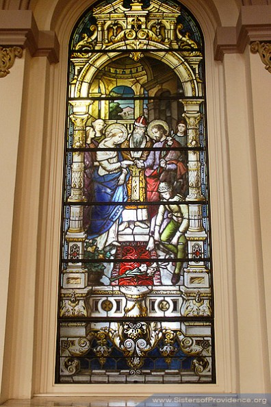 The Church of the Immaculate Conception is on the motherhouse grounds of the Sisters of Providence of Saint Mary-of-the-Woods, Indiana. Its beautiful windows were made by the Bavarian Art Institute of Munich, Germany.