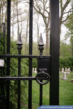 The gate to the Sisters of Providence Convent Cemetery in Saint Mary-of-the-Woods, Indiana. This cemetery is one of the resting places of Saint Mother Theodore Guerin, the Congregation's foundress.