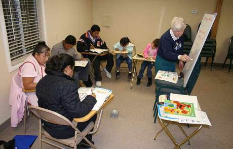 Sister Carol Nolan teaches English to immigrants in Coachella, Calif. for Providence in the Desert, a ministry of Guerin Outreach Ministries.