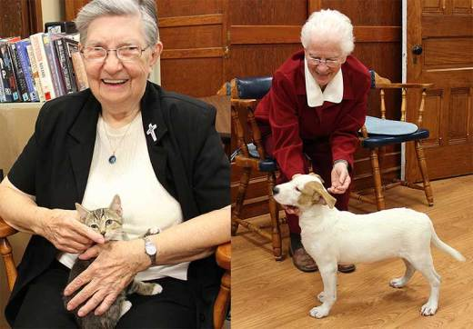 Sister Laurine Haley, left, and Sister Adelaide Ortegel enjoy the kindness of Sister Joanne Golding when she brings puppies and kittens to visit the Sisters of Providence living at Saint Mary-of-the-Woods.