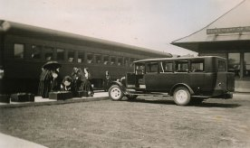 Many Sisters of Providence left for mission via the Saint Mary's train station, which was right across the street from the main Saint Mary-of-the-Woods gate. Here Sisters of Providence leave for their missions on August 17, 1940