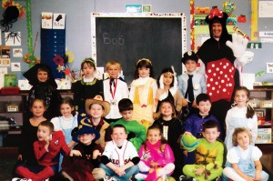 Sister Claire dresses up for Halloween with her students in her previous position as teacher at St. Agnes School in Arlington, Mass.