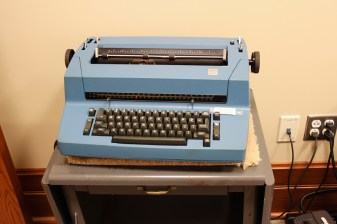 This typewriter is also in the computer room, for sisters wanting to type something up the old-fashioned way.