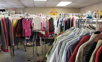 A section of the thrift shop set up and ready for customers.
