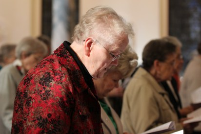 Sister Suzanne Dailey prays during Vespers on Foundation Day.
