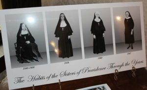 One of the displays in the exhibit features the different looking habits sisters have worn throughout the years.