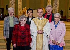 Sister Mary Lois Hennel (front, from left) and Bishop Charles C. Thompson with Sister Rita Clare Gerardot, (back) along with Sisters Kathryn Koressel, Editha Ben and Mary Mundy. Photo provided by Peewee C. Vasquez.