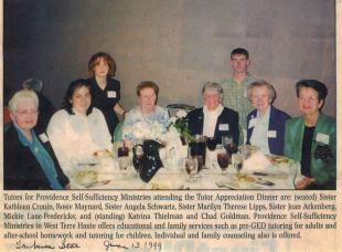 A clipping from the local newspaper in 1999 shows some of the Educational/Family Services volunteers (then under the umbrella ministry of Providence Self-Sufficiency Ministries) at a Tutor Appreciation Dinner.