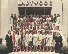 Sister Helen Vinton, at left, with students at Ladywood High School in Indianapolis in the late 1960s.
