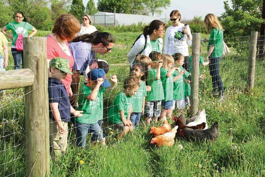 Preschoolers from St. Patrick School in Terre Haute visit the chickens. St. Pat's also purchases fresh, organically grown vegetables from White Violet Center (WVC) --our first Farm to School program!
