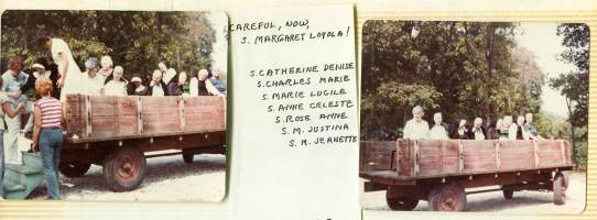 Trucking the sisters in for the 1981 infirmary picnic at St. Joseph's Lake.
