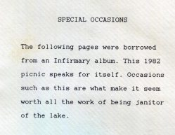 Sister Jean Fuqua's typed note from the St. Joseph Lake scrapbook regarding the infirmary picnic in 1982.