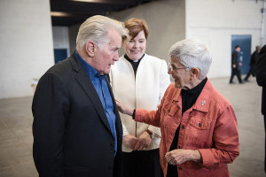 She meets with actor Martin Sheen at a breakfast for International Worker Rights Day sponsored by ARISE-Chicago.