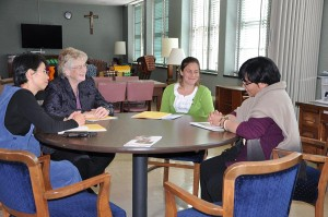 Small table discussion with Sisters of Providence, sisters in formation and women who attended the discernment weekend.