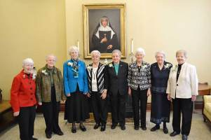 2015 60-year Jubilarians include (from left) Sisters Margaret Quinlan, Suzanne Dailey, Ann Margaret O'Hara, Ann Matilda Holloran, Alice Ann Rhinesmith, Jean Fuqua, Mary Ann Phelan and Nancy Nolan. Not pictured: Sister Josephine Bryan.