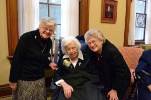 2015 80-year Jubilarian Sister Mary Terence Haag (center) with Sister Denise Wilkinson (left) and Sister Jenny Howard.