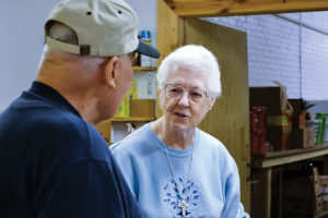 Sister Joseph Fillenwarth volunteer at the Providence Food Pantry.