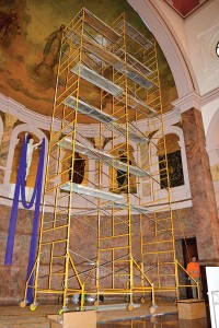 Workers from Garmong Construction and Sycamore Engineering replaced light bulbs with LED lighting in the Church of the Immaculate Conception in February.