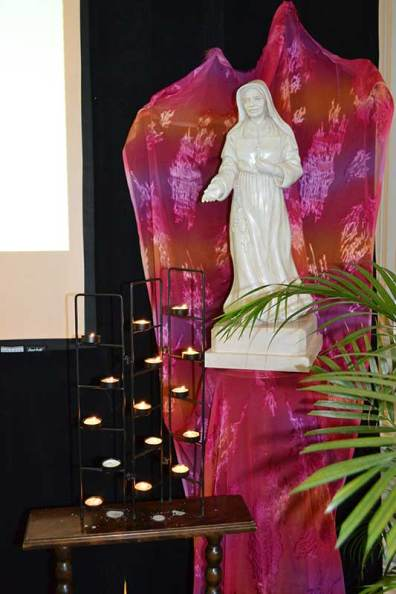 Chapter prayer environment includes statue of Saint Mother Theodore Guerin (photo by Jason Moon)