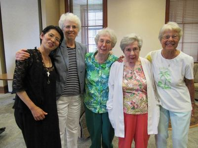 From left, Sister Anna Fan after the blessing with Sisters Ann Margaret O'Hara, Gloria Memering, Mary Lois Hennel, Jackie Hoffman.