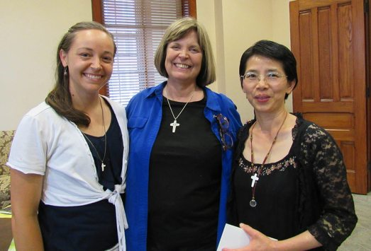 Mission Novices Sisters Tracey Horan, left, and Anna Fan, right, with Novice Director Sister Janice Smith.