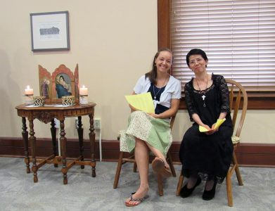 Sisters Tracey Horan and Anna Fan before their mission novice blessing.